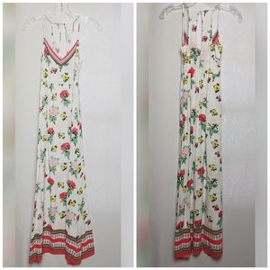 H&M Coachella White Floral Sexy Maxi Dress Sz S